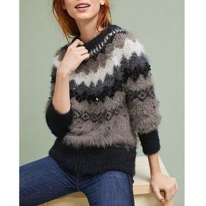 Anthropologie furry beaded bubble sleeve sweater